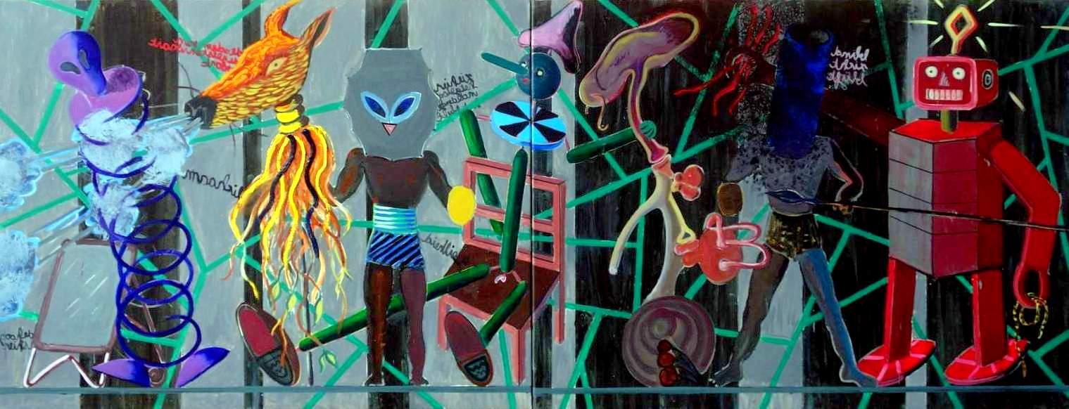 Toon Teeken, Verhaal halen, Olieverf op doek, 2 x 100x130cm