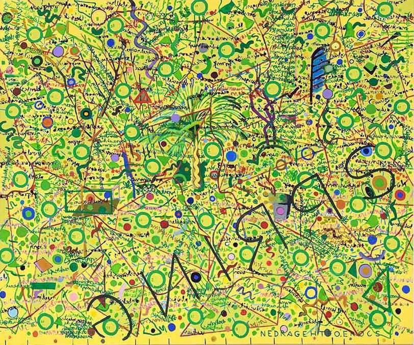 Toon Teeken Score of the garden (spring), 2016, olie linnen, 200x240cm