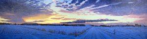 1 dag winter Lheeder es, 2016, klleurenhoutsnede, 18 x 62 cm, ingelijst 30 x 74 cm