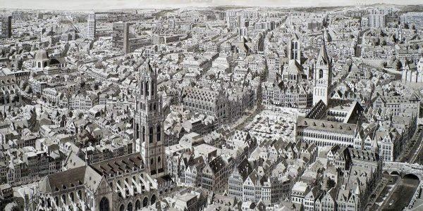 Stad in België (City in Flandres), 2019, Inkt en aquarel op papier 46 x 76 cm ingelijst 58 x 88 cm