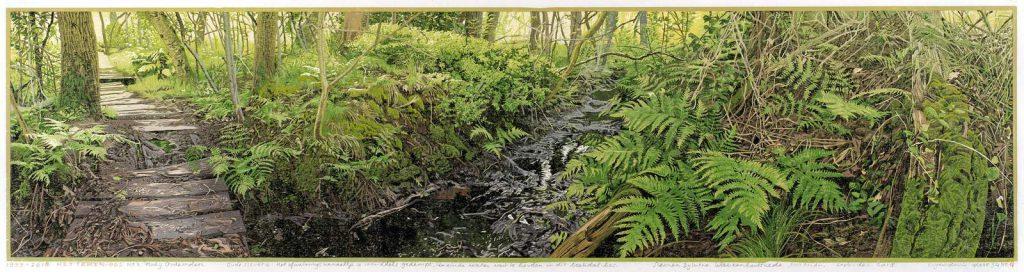 Siemen Dijkstra, Het Tekenbos № 3, 2018, Kleurenhoutsnede 25 x 99 cm, ingelijst 45 x 118 cm